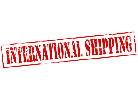 conveyance: Rubber stamp with text international shipping inside, vector illustration