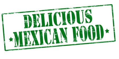 delicious food: Rubber stamp with text delicious Mexican food inside, vector illustration