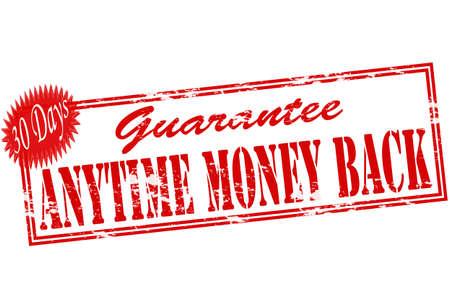 surety: Timbro di gomma con il testo in qualsiasi momento i soldi indietro dentro, illustrazione vettoriale Vettoriali