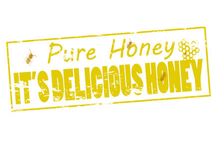 sheer: Rubber stamp with text pure honey inside, vector illustration Illustration