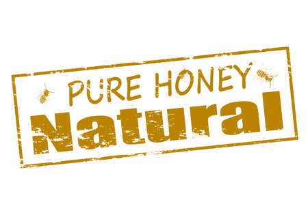 mere: Rubber stamp with text pure honey natural inside
