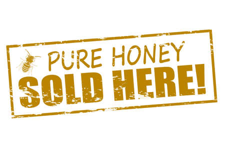 mere: Rubber stamp with text pure honey inside Illustration