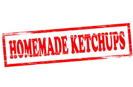 Carimbo de borracha com o texto ketchup caseiro dentro