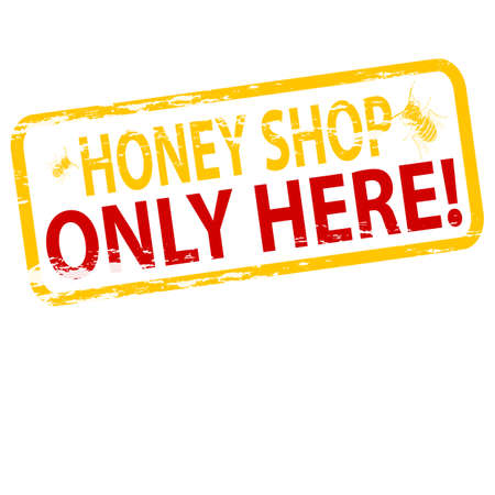 purely: Rubber stamp with text honey shop inside, illustration Illustration