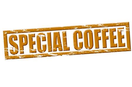Carimbo de borracha com texto do caf� especial dentro, ilustra��o Ilustração