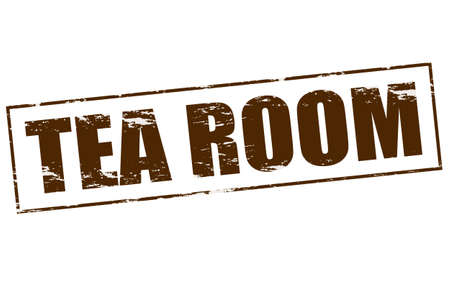 rubber tube: Rubber stamp with text tea room inside Illustration