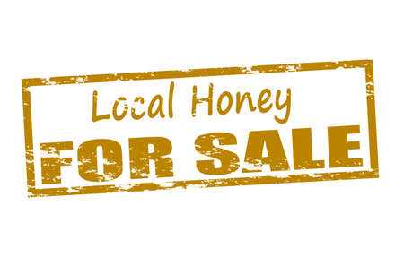 vernacular: Rubber stamp with text local honey for sale inside