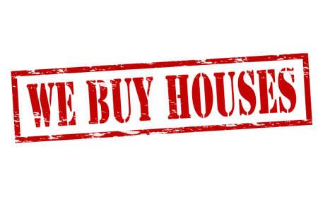 Carimbo de borracha com o texto que compram casas no interior