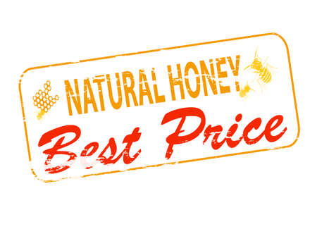 lifelike: Rubber stamp with text natural honey best price inside