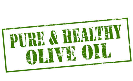 absolute: Rubber stamp with text pure and healthy olive oil inside, vector illustration