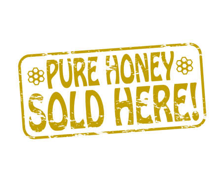 absolute: Rubber stamp with text pure honey inside, vector illustration Illustration