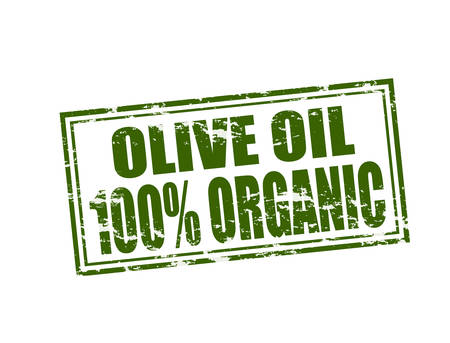 particular: Rubber stamp with text organic olive oil inside, vector illustration