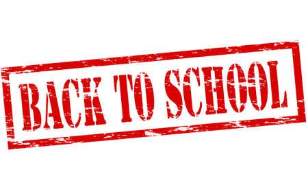 backwards: Rubber stempel met tekst terug naar school binnen, vector illustratie