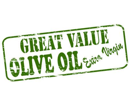 aceite de oliva virgen extra: Sello de goma con el texto de gran valor en el interior, ilustraci�n vectorial
