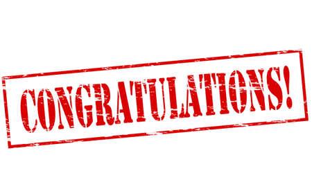 Rubberen stempel met woord felicitaties binnen, vector illustratie Stock Illustratie