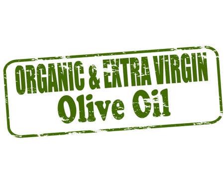aceite de oliva virgen extra: Sello de goma con aceite de oliva virgen texto org�nico y adicional dentro
