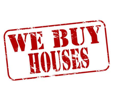 Timbre en caoutchouc avec le texte que nous achetons des maisons à l'intérieur, Banque d'images - 31366616
