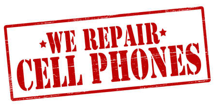 cell phones: Rubber stamp with text we repair cell phones inside, illustration