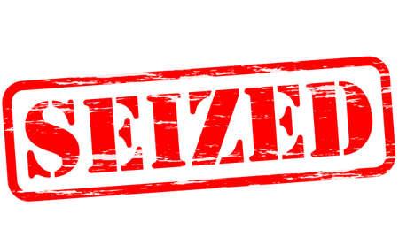 seized: Rubber stamp with word seized inside, illustration Illustration