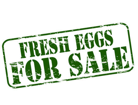 dewy: Rubber stamp with text fresh eggs for sale inside, vector illustration