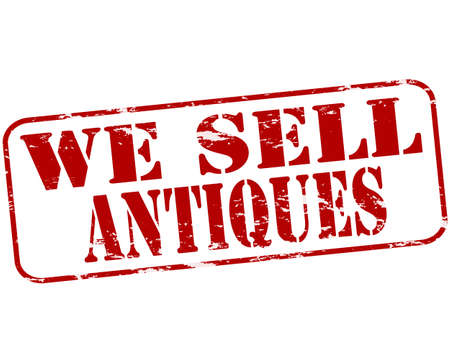 antiques: Rubber stamp with text we sell antiques inside, vector illustration Illustration