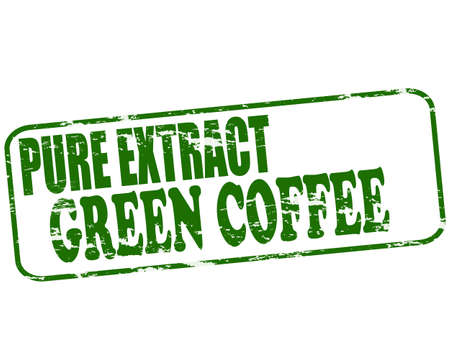 sheer: Rubber stamp with text pure extract green coffee inside, vector illustration