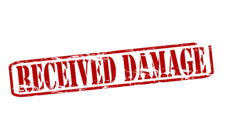 deteriorate: Rubber stamp with text received damage inside, vector illustration