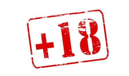 eighteen: Rubber stamp with text plus eighteen inside, vector illustration