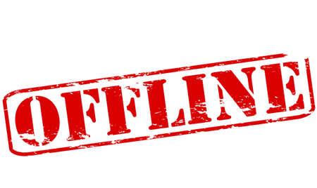 offline: Rubber stamp with word offline inside, vector illustration