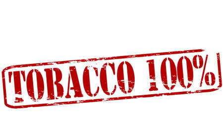 baccy: Rubber stamp with text tobacco one hundred percent inside, vector illustration