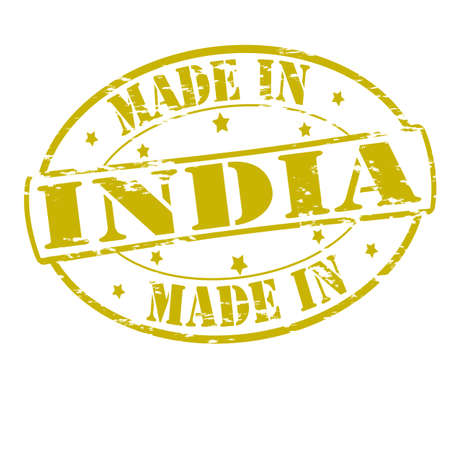Rubber stamp with text made in India inside, vector illustration Vector