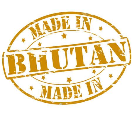 bhutan: Rubber stamp with text made in Bhutan inside, vector illustration Stock Illustratie