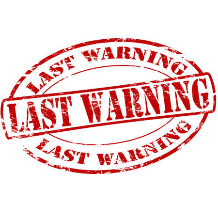 Rubber stamp with text last warning inside, vector illustration