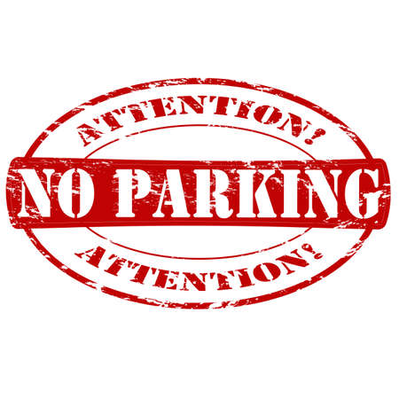 Rubber stamp with text no parking inside, vector illustration Çizim