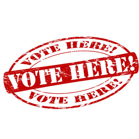 vote here: Rubber stamp with text vote here inside, vector illustration