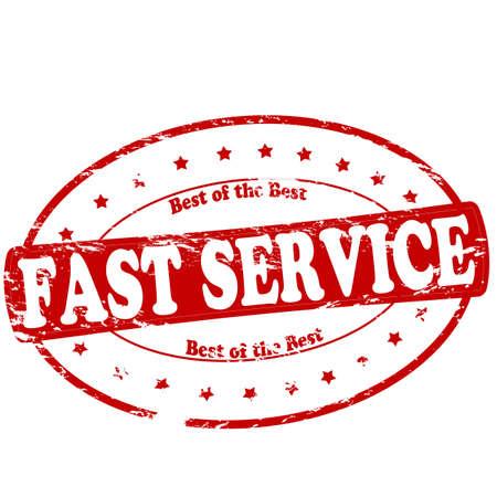 martinet: timbre en caoutchouc avec le texte un service rapide � l'int�rieur, illustration vectorielle