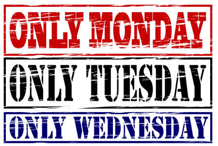 wednesday: Rubber stamp with texts only Monday, Tuesday and Wednesday inside, vector illustration