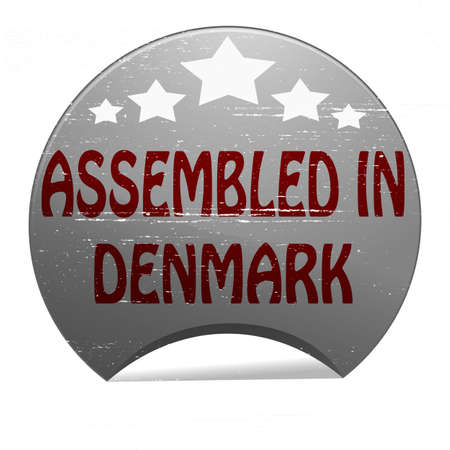 erect: Rubber stamp with text assembled in Denmark inside, vector illustration