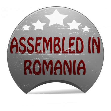 Rubber stamp with text assembled in Romania inside, vector illustration