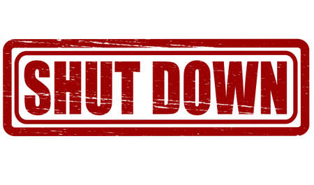 stoppage: Rubber stamp with text shut down inside, vector illustration