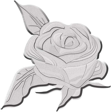 Gray silhouette of rose with leaves. Vector illustration. Vector