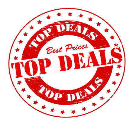 dealings: Stamp with text top deals inside, illustration