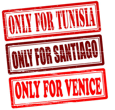 Set of stamps with text only for Tunisia Santiago and Venice inside, vector illustration Vector