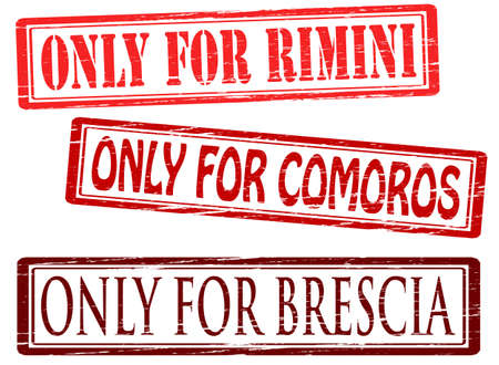 solely: Set of stamps with text only for Brescia Comaros and Rimini inside, vector illustration