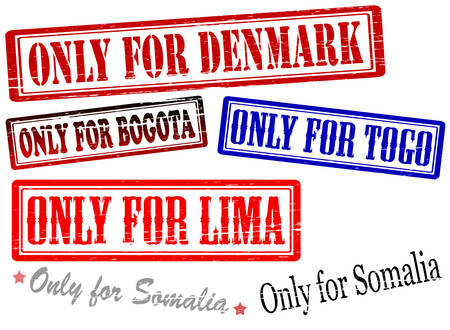 purely: Set of stamps with text only for Somalia Togo Lima Bogota and Denmark inside, vector illustration