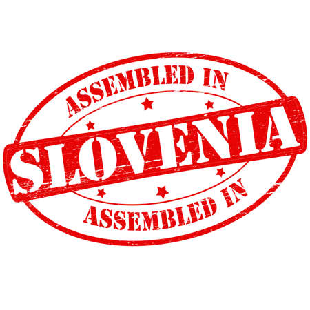 Stamp with text assembled in Slovenia inside, vector illustration