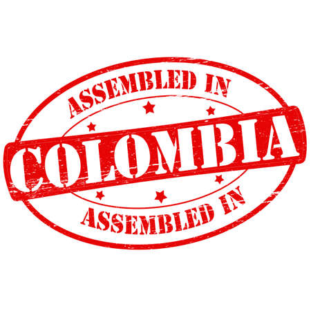 Stamp with text assembled in Colombia inside, vector illustration Illustration