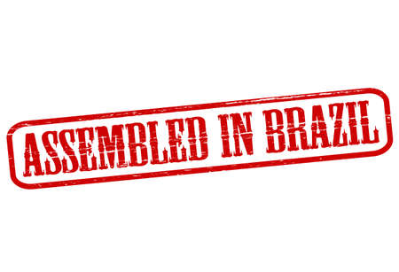 erect: Stamp with text assembled in Brazil inside, vector illustration Illustration