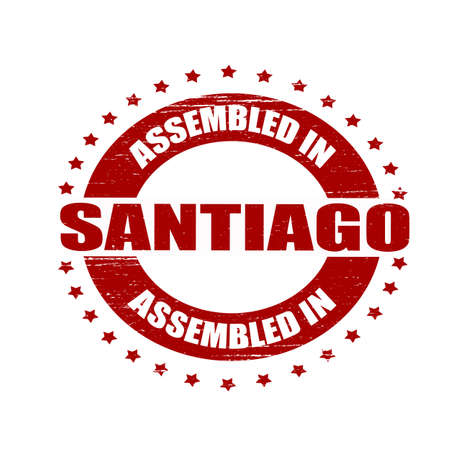 santiago: Stamp with text assembled in Santiago inside, illustration