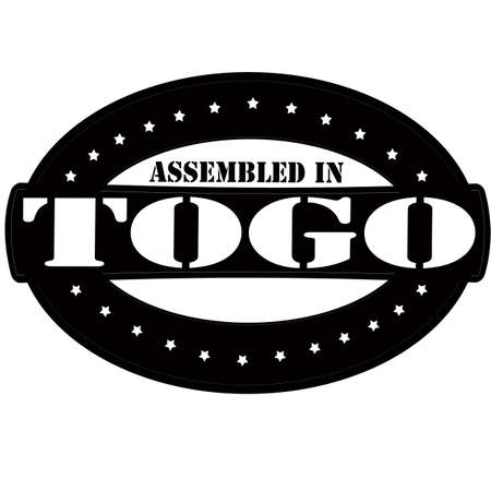 Stamp with text assembled in Togo inside
